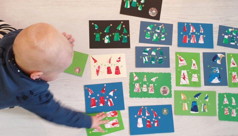 Joulukorttiaskartelua taaperon kanssa